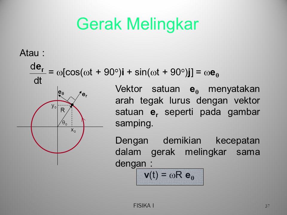 Gerak Melingkar Atau : = [cos(t + 90o)i + sin(t + 90o)j] = e